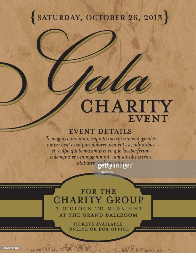 Charity gala invitation design template on paper background vector charity gala invitation design template on paper background vector art stopboris