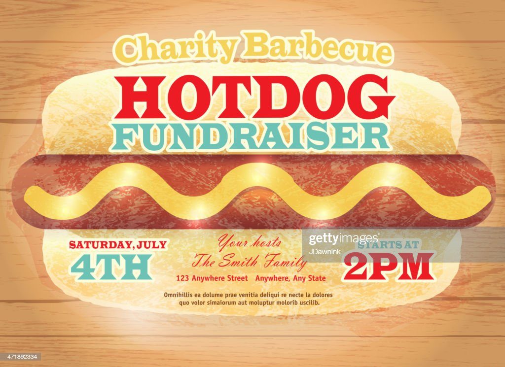 charity hotdog fundraiser design template on wooden. Black Bedroom Furniture Sets. Home Design Ideas