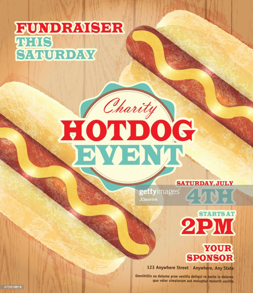 charity hotdog fundraiser poster template on wooden