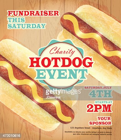 Charity Hotdog Fundraiser Poster Template On Wooden Background