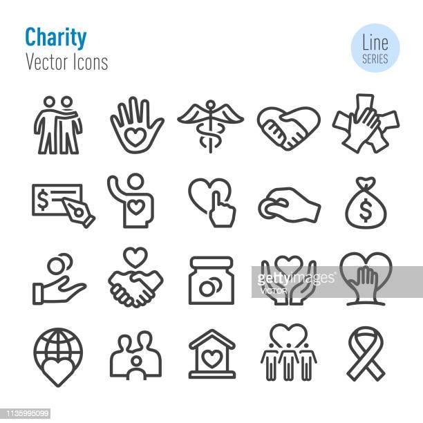 charity icon set-vector line series - spende für wohltätige zwecke stock-grafiken, -clipart, -cartoons und -symbole