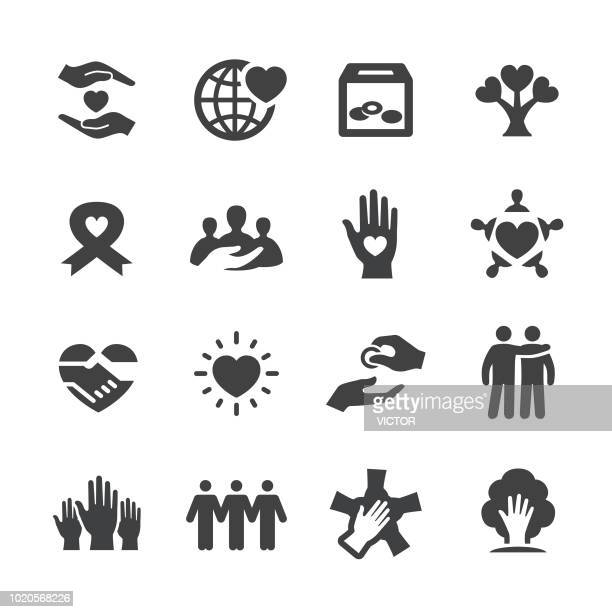 charity icons - acme series - charity and relief work stock illustrations