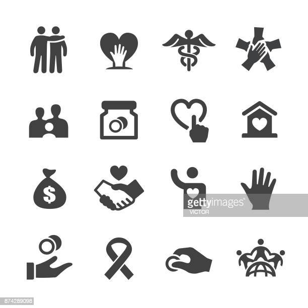 charity icons - acme series - group of objects stock illustrations
