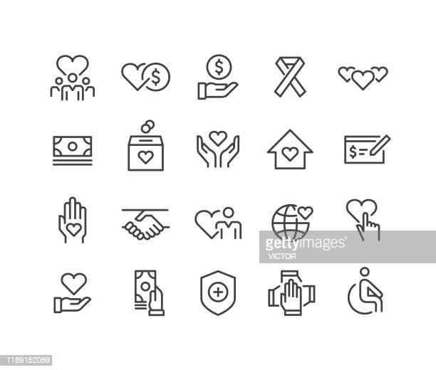 illustrazioni stock, clip art, cartoni animati e icone di tendenza di icone di beneficenza - serie linea classica - donazione