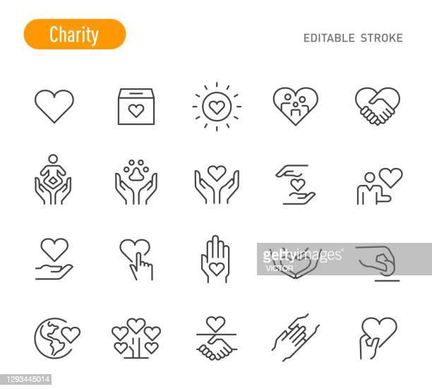 stockillustraties, clipart, cartoons en iconen met charity icons - line series - bewerkbare lijn - charity benefit