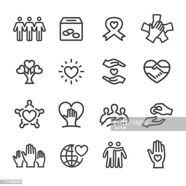 nächstenliebe icons - line serie - trösten stock-grafiken, -clipart, -cartoons und -symbole