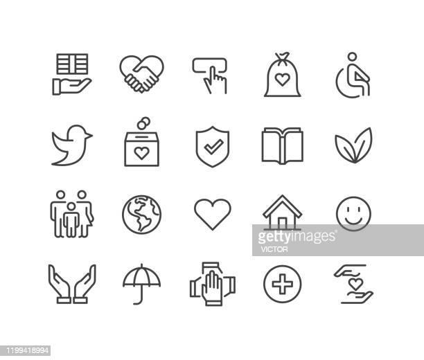 charity icons set - classic line serie - benefiz veranstaltung stock-grafiken, -clipart, -cartoons und -symbole