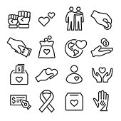 Charity Icons Set - Line Series
