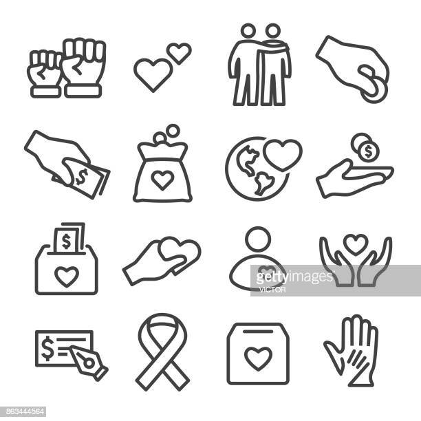 charity icons set - line series - poverty stock illustrations