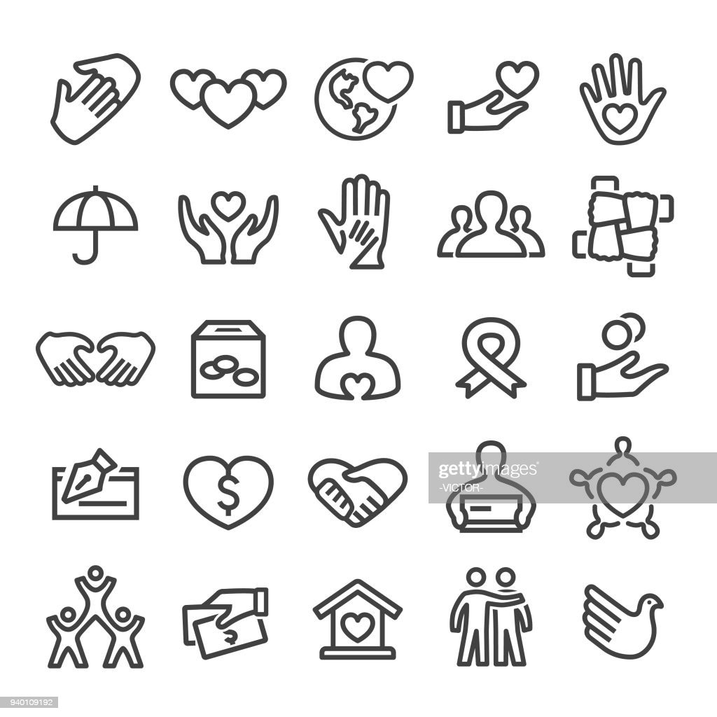 Charity Icons - Smart Line Series : stock illustration