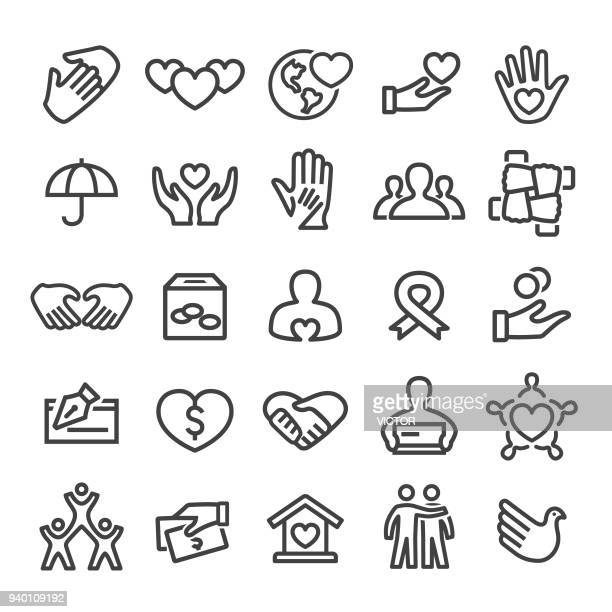 charity icons - smart line series - social issues stock illustrations