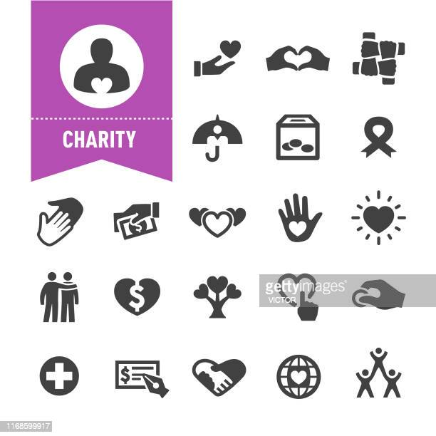 charity icons - sonderserie - aids schleife stock-grafiken, -clipart, -cartoons und -symbole