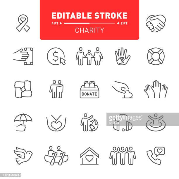 charity icons - symbols of peace stock illustrations
