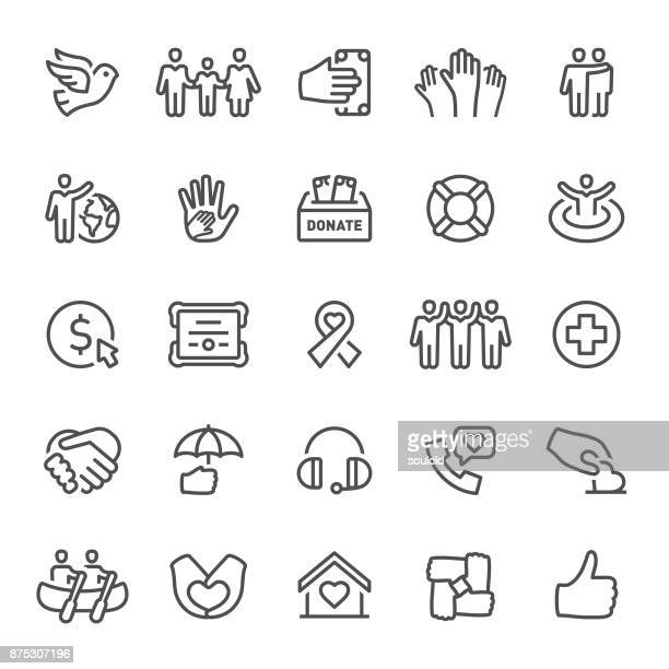 charity icons - heart symbol stock illustrations