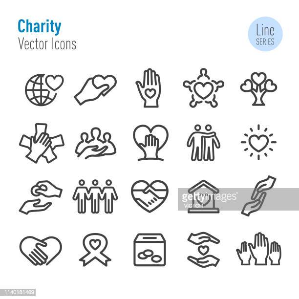 charity icons - vector line series - aids awareness ribbon stock illustrations