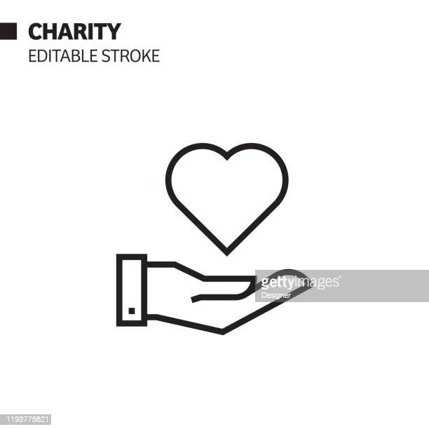 charity line icon, outline vector symbol illustration. pixel perfect, editable stroke. - giving tuesday stock illustrations