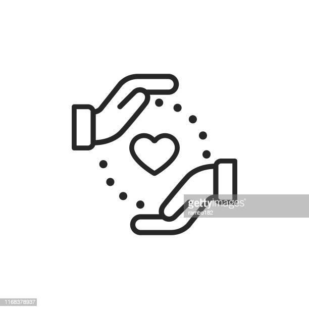 illustrazioni stock, clip art, cartoni animati e icone di tendenza di icona della linea di beneficenza. pixel perfetto. per dispositivi mobili e web. tratto modificabile. - organizzazione no profit