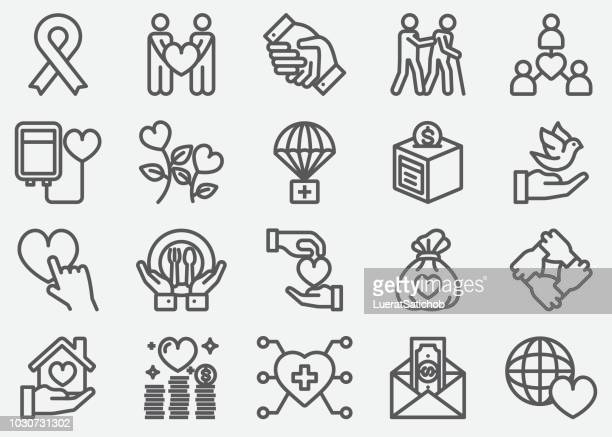 charity line icons - aids awareness ribbon stock illustrations