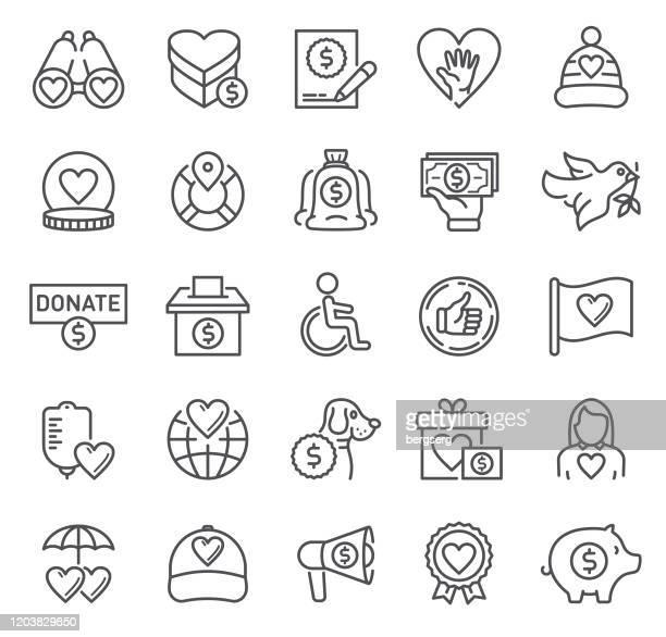 手助け、寄付、薬、安全サイン付きのチャリティーラインアイコン - ホスピス点のイラスト素材/クリップアート素材/マンガ素材/アイコン素材