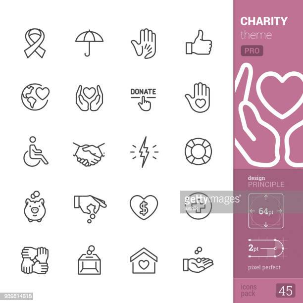 Charity, outline icons - PRO pack