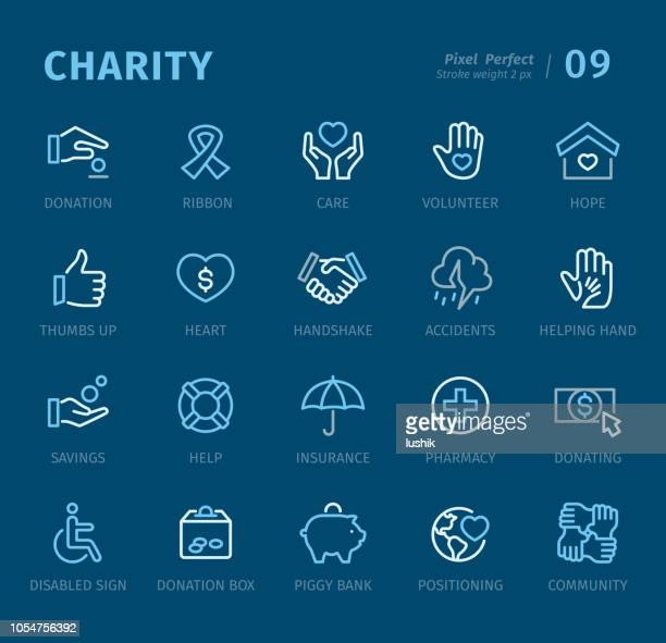 charity - outline icons with captions - buoy stock illustrations, clip art, cartoons, & icons