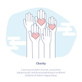 Charity, Philanthropy, Fundraising or Volunteer Symbol. Rising Hands for Help.