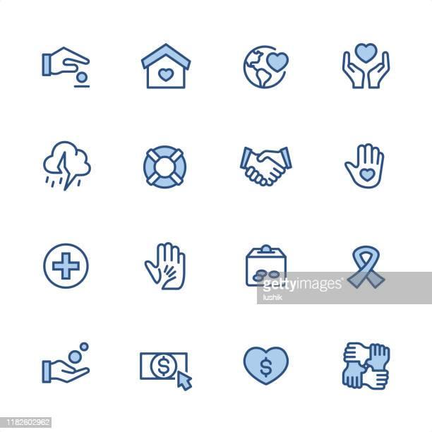 charity - pixel perfekte blaue umriss-symbole - aids schleife stock-grafiken, -clipart, -cartoons und -symbole