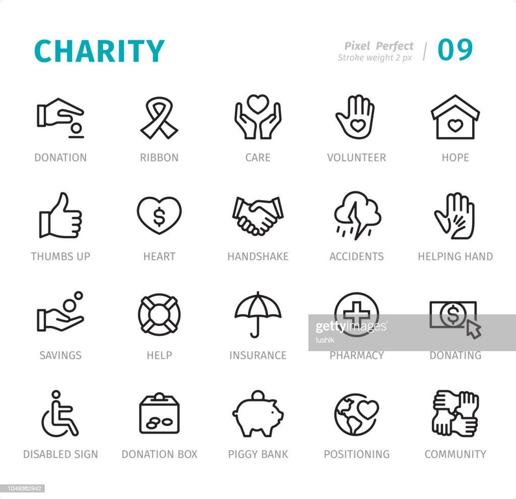 Charity - Pixel perfekte Linie Symbole mit Bildunterschriften : Stock-Illustration