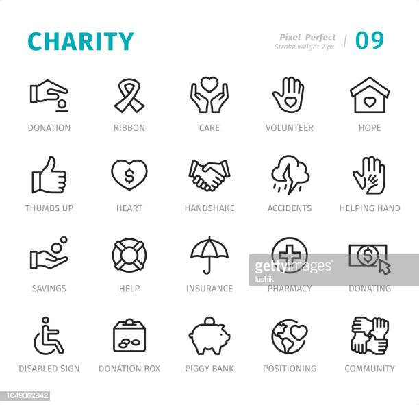 charity - pixel perfect line icons with captions - charity and relief work stock illustrations