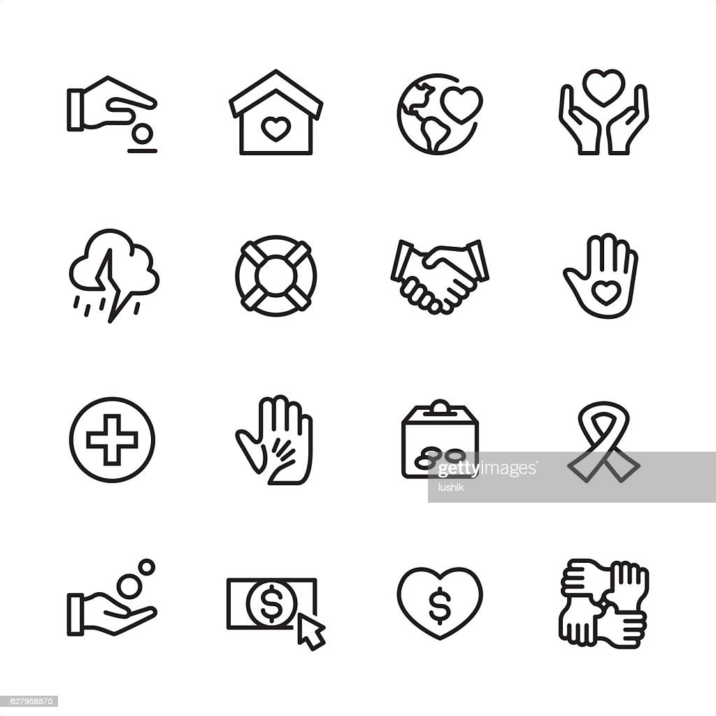 Charity & Relief Work - outline style vector icons : stock illustration