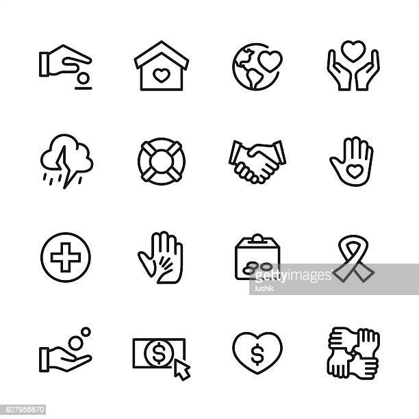 charity & relief work - outline style vector icons - benefiz veranstaltung stock-grafiken, -clipart, -cartoons und -symbole