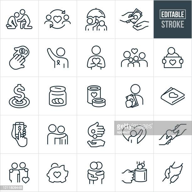 charity thin line icons - editable stroke - humanitarian aid stock illustrations