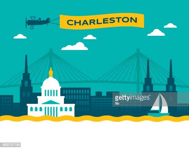 charleston skyline - charleston west virginia stock illustrations
