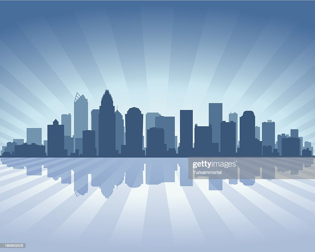 Charlotte Blue City skyline silhouette