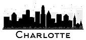 Charlotte City skyline black and white silhouette.