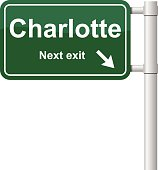 Charlotte next exit green signal vector