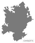 Charlotte North Carolina city map grey illustration silhouette shape