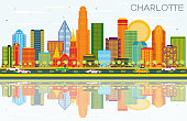 Charlotte North Carolina City Skyline with Color Buildings, Blue Sky and Reflections.