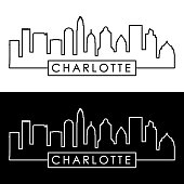 Charlotte skyline. Linear style. Editable vector file.