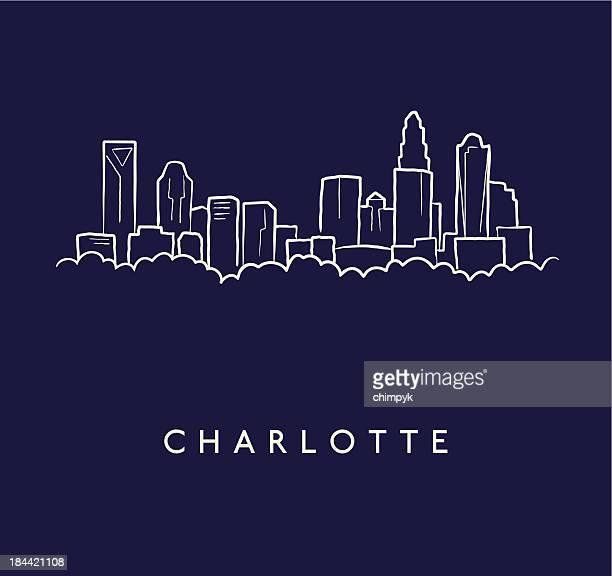 charlotte skyline sketch - charlotte north carolina stock illustrations
