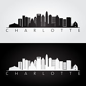 Charlotte usa skyline and landmarks silhouette, black and white design, vector illustration.