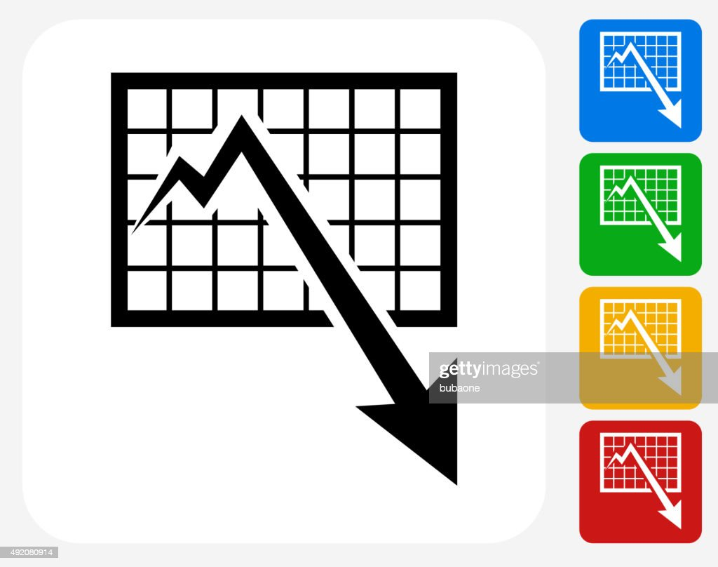 Chart and Decrease Arrow Icon Flat Graphic Design