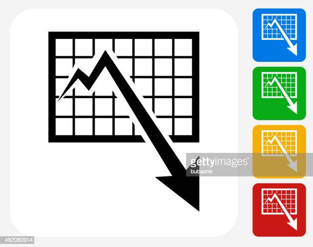 chart and decrease arrow icon flat graphic design - deterioration stock illustrations