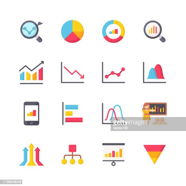 illustrazioni stock, clip art, cartoni animati e icone di tendenza di chart and diagram flat icons. material design icons. pixel perfect. for mobile and web. contains such icons as chart, diagram, bar chart, pie chart, finance, analytics, big data, dashboard, statistics. - economia
