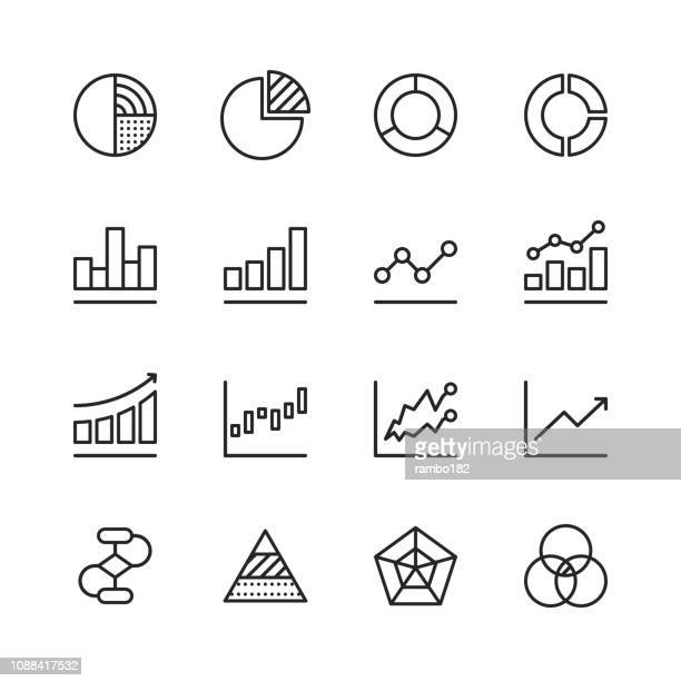 chart and diagram line icons. editable stroke. pixel perfect. for mobile and web. contains such icons as pie chart, stock market data, organisation chart, progress report, bar graph. - graph stock illustrations