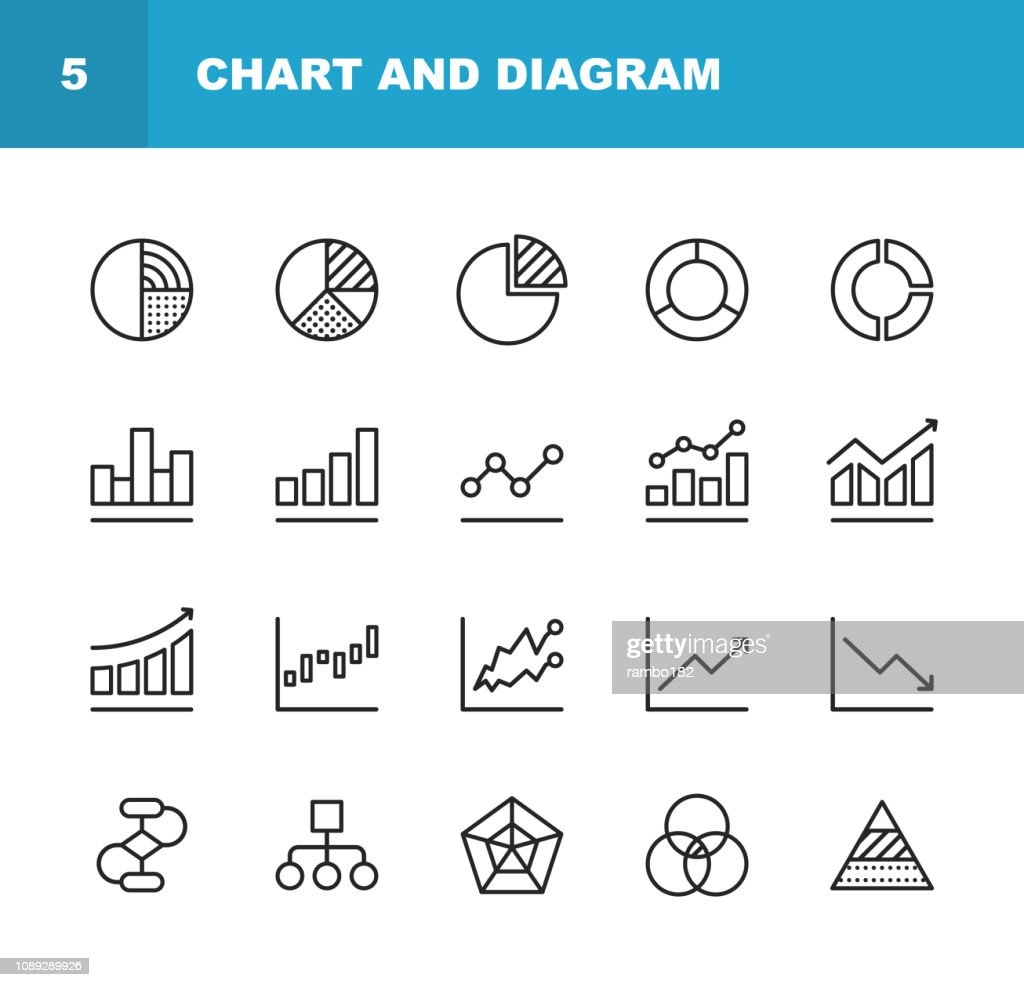 Chart and Diagram Line Icons. Editable Stroke. Pixel Perfect. For Mobile and Web. Contains such icons as Pie Chart, Stock Market Data, Organizational Chart, Progress Report, Bar Graph. : stock illustration
