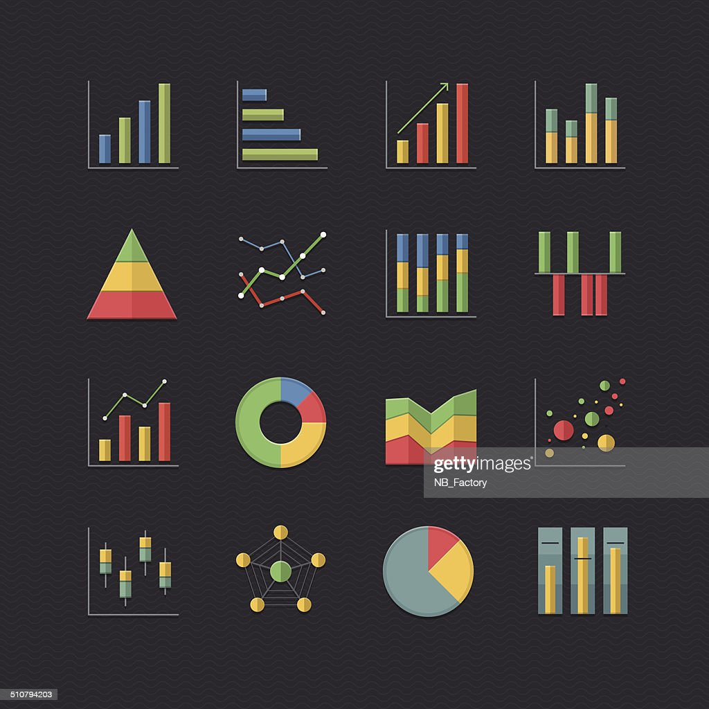 Chart and Graph icons set with Flat color style
