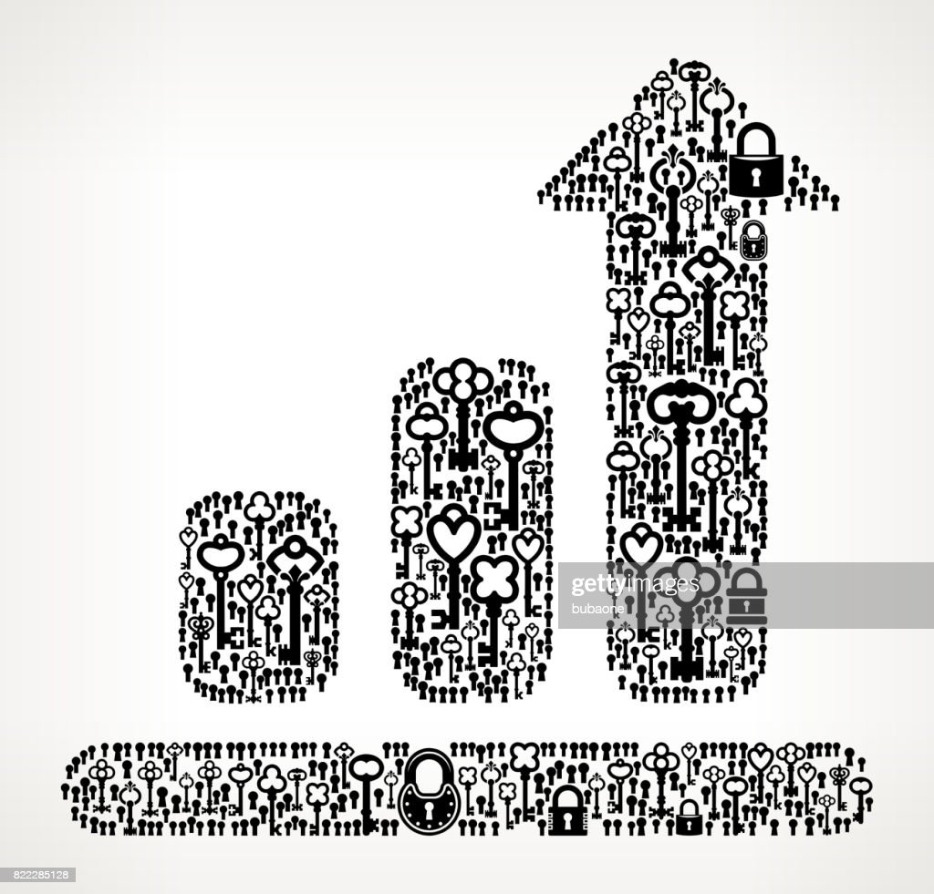 Chart  Antique Keys Black and White Vector Pattern : stock illustration