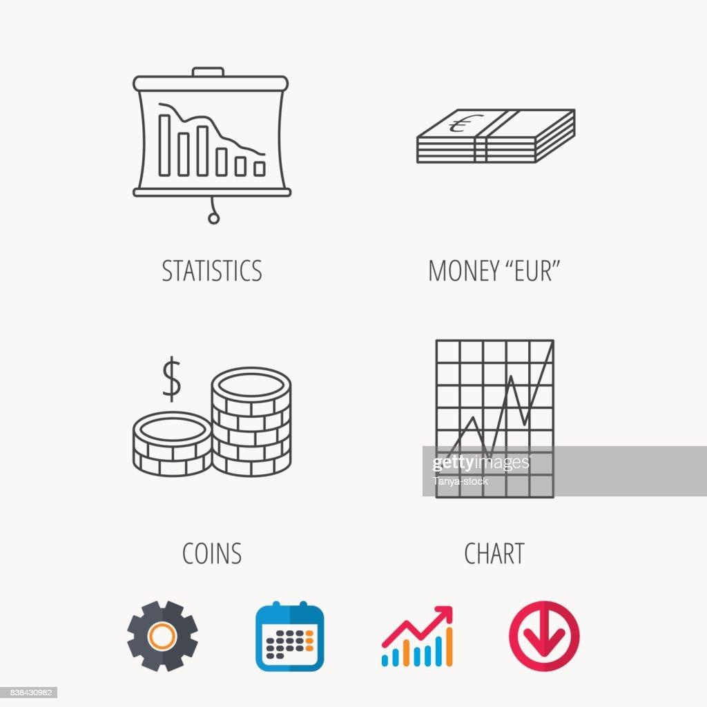 chart, cash money and statistics icons