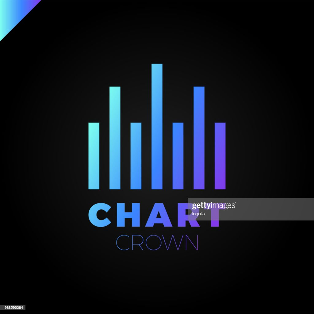 Chart Crown. Infographic rate. Chart or rate icon logotype. Growing graph simbol. Mark